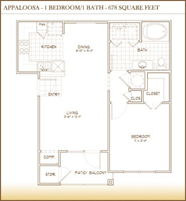 678 sq. ft. Appaloosa floor plan