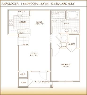 678 sq. ft. APPALOOSA floor plan