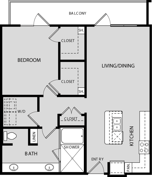 947 sq. ft. A4 floor plan