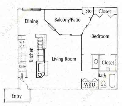 739 sq. ft. 11C floor plan