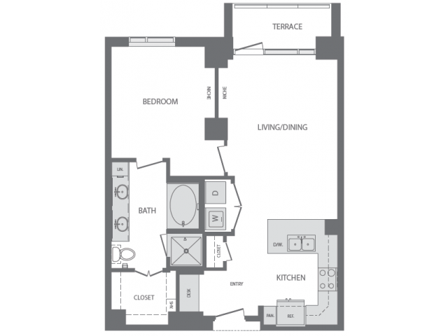 847 sq. ft. to 977 sq. ft. F floor plan