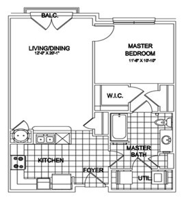 846 sq. ft. Bishop floor plan