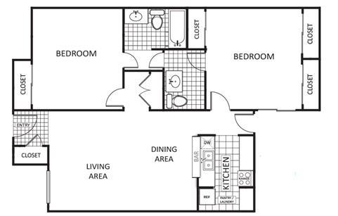 900 sq. ft. Maple A floor plan