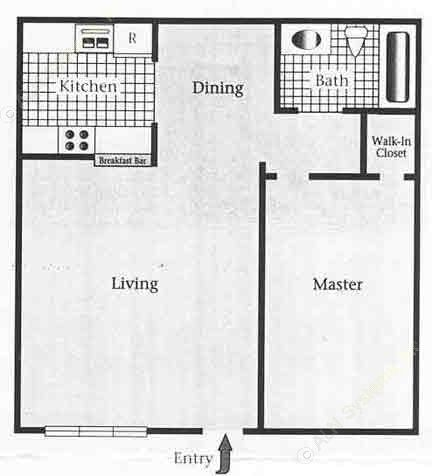 612 sq. ft. A/60% floor plan