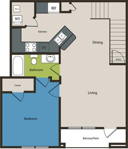 937 sq. ft. A2U floor plan