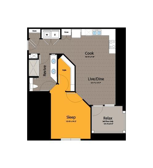 745 sq. ft. A4 floor plan