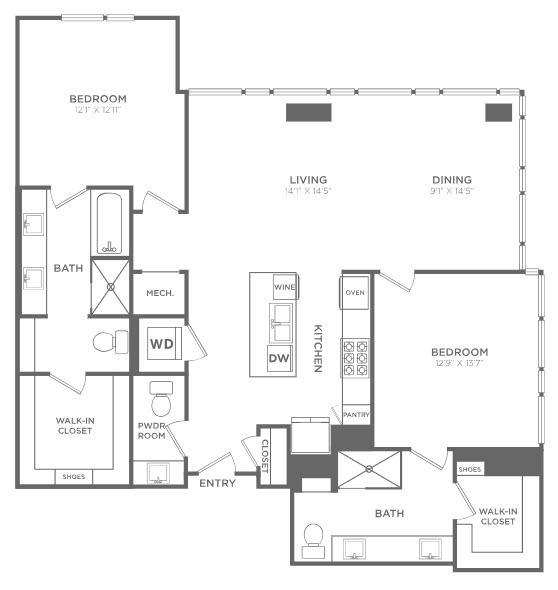 1,537 sq. ft. TB3 floor plan