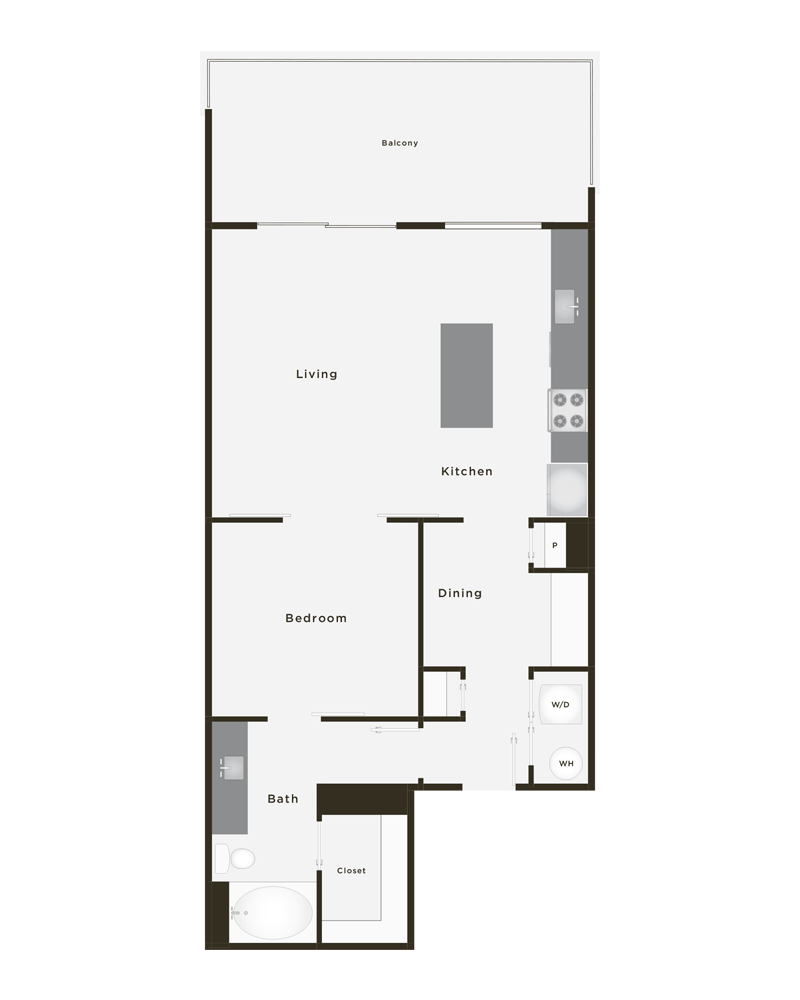 850 sq. ft. Gold floor plan