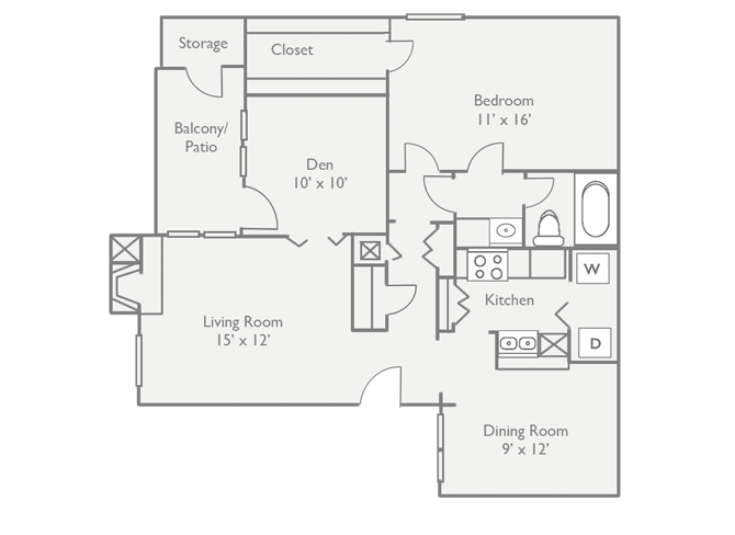 959 sq. ft. floor plan