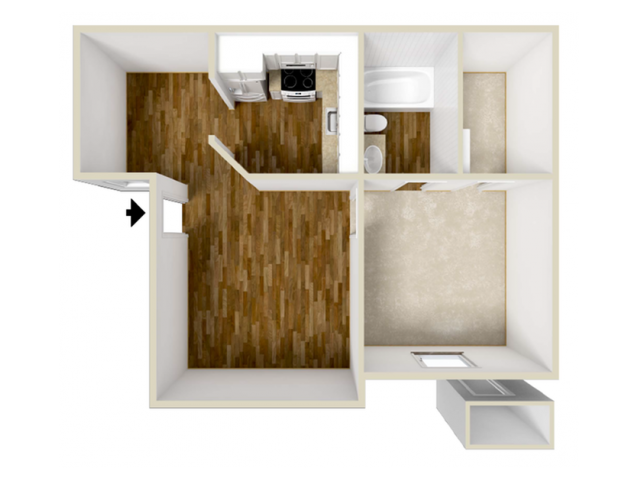 523 sq. ft. floor plan