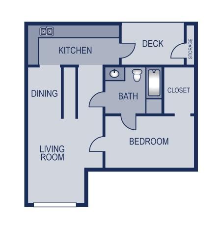 750 sq. ft. 1/1 floor plan