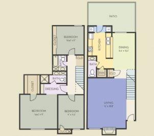 1,458 sq. ft. C2T floor plan