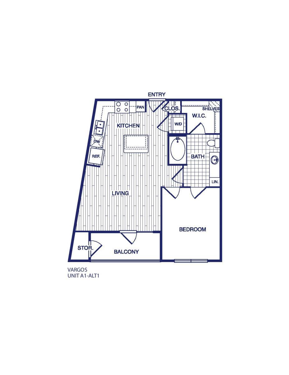 658 sq. ft. A1 ALT 1 floor plan