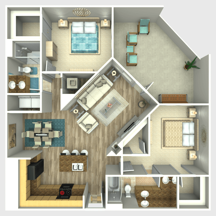 1,155 sq. ft. B3 floor plan