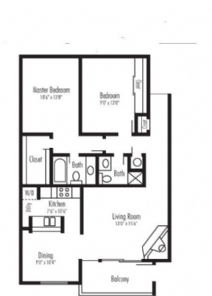 990 sq. ft. Sutherland jr floor plan