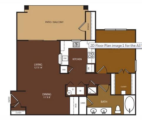 762 sq. ft. Whitmore floor plan
