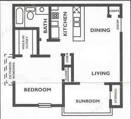 675 sq. ft. A1S floor plan