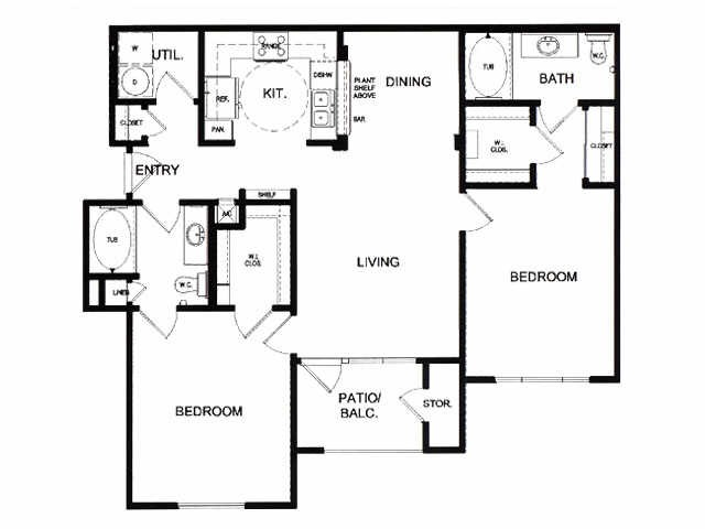 1,064 sq. ft. E floor plan