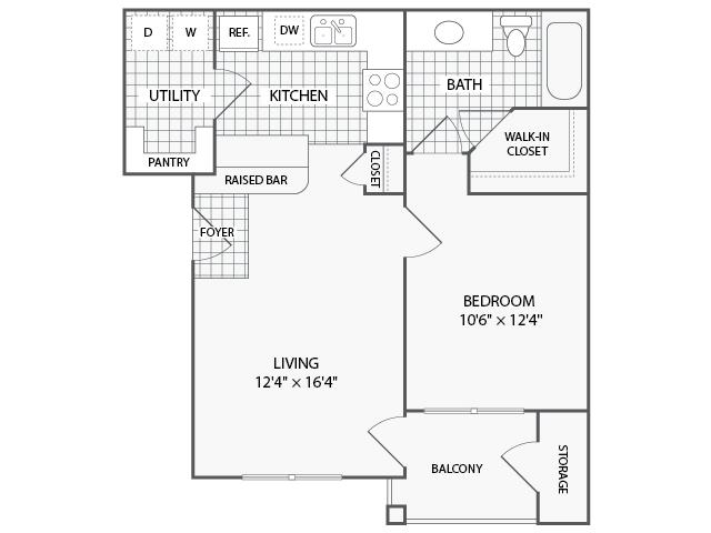 659 sq. ft. A1 floor plan