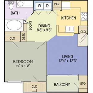 702 sq. ft. Travis (A1A) floor plan