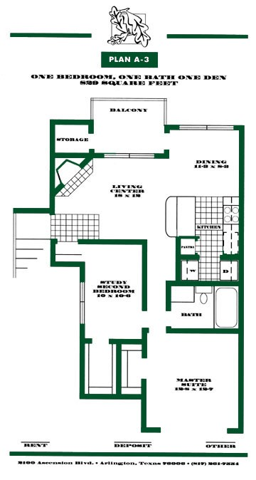 829 sq. ft. A3 PH I floor plan