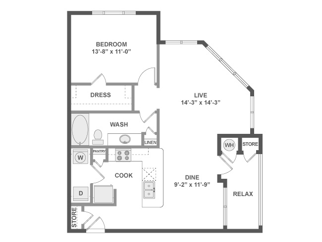 845 sq. ft. A4a floor plan