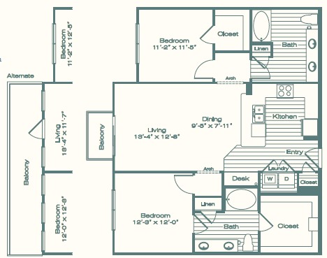 1,156 sq. ft. B1 floor plan