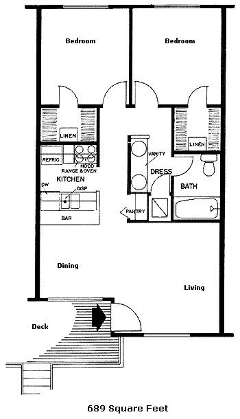 689 sq. ft. 50% floor plan