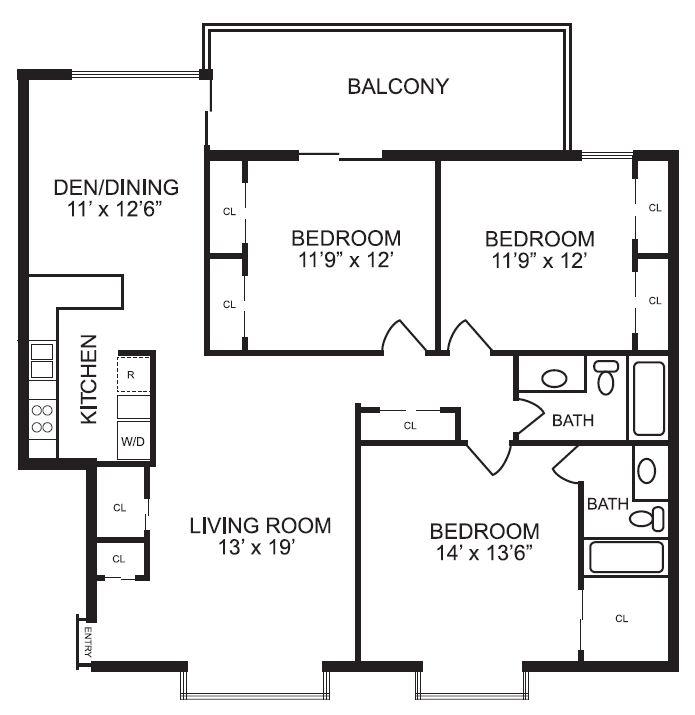 1,536 sq. ft. C1 floor plan