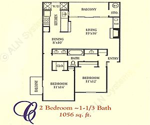 1,056 sq. ft. C floor plan