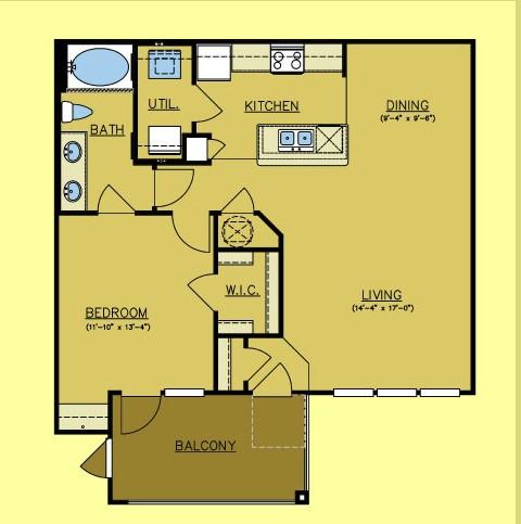 877 sq. ft. Alamo floor plan