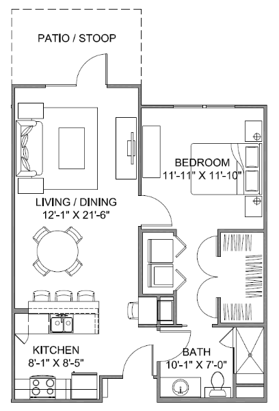 738 sq. ft. Avenue B/60% floor plan