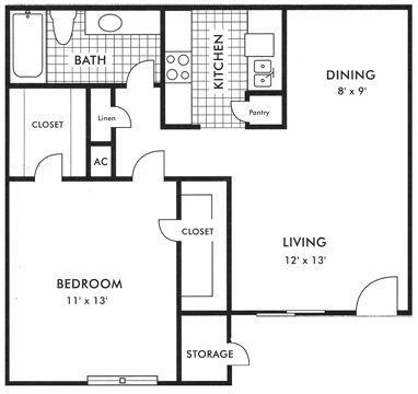 661 sq. ft. floor plan