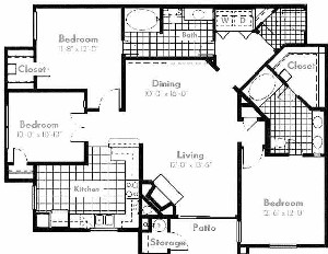 1,381 sq. ft. C1 floor plan