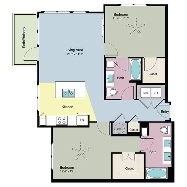 1,133 sq. ft. Grow (B2C) floor plan