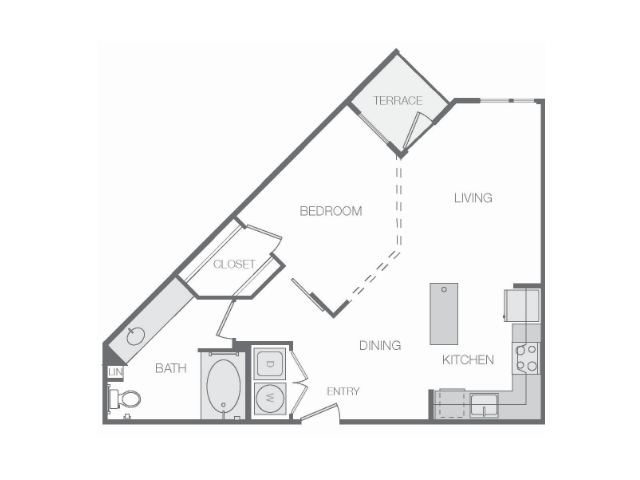 694 sq. ft. to 696 sq. ft. floor plan
