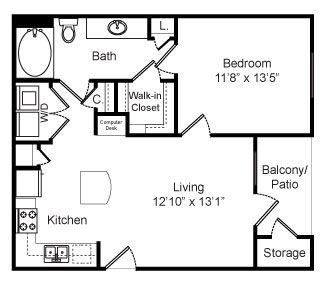 650 sq. ft. Amberwood floor plan