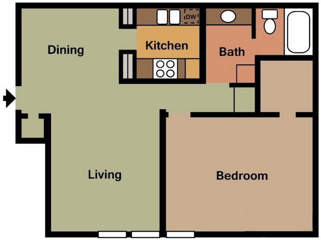 710 sq. ft. A floor plan