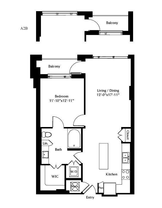 783 sq. ft. A2 floor plan