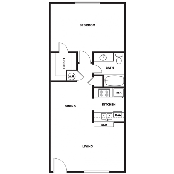 719 sq. ft. A floor plan