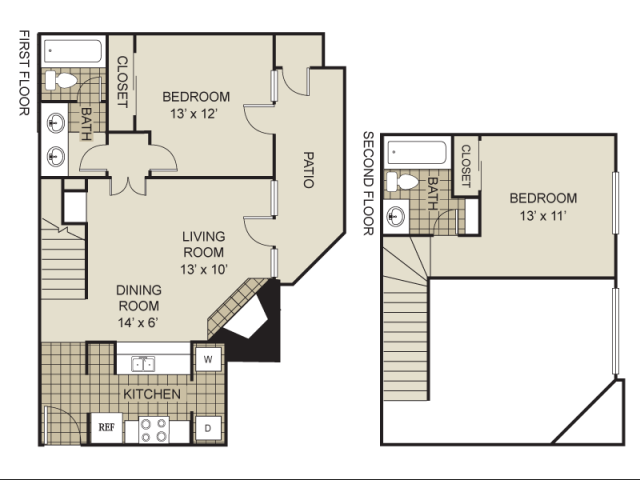 940 sq. ft. B1-C floor plan