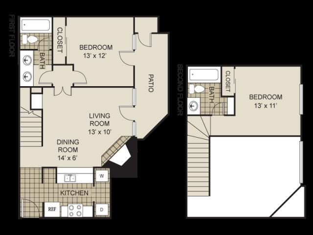 940 sq. ft. B1-C floor plan