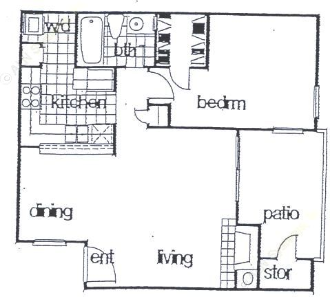 671 sq. ft. A3 floor plan
