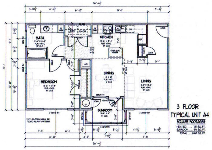 840 sq. ft. A4-50% floor plan