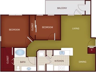 913 sq. ft. B1 floor plan
