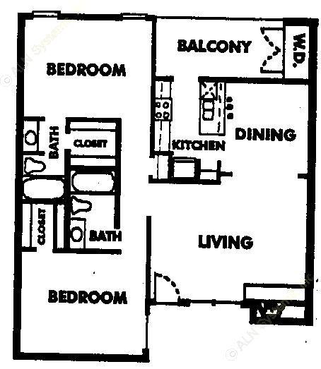 975 sq. ft. B1 floor plan