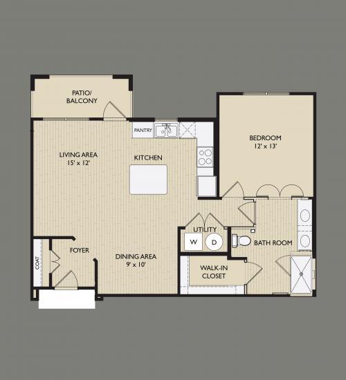 865 sq. ft. A2 floor plan