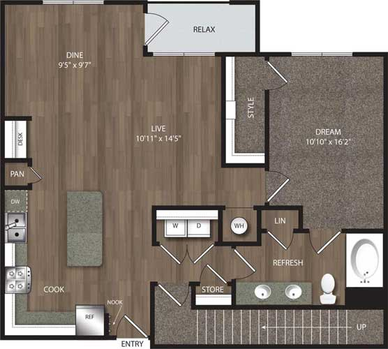 1,005 sq. ft. A6 floor plan