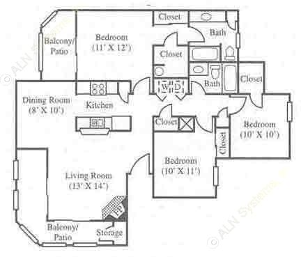 1,200 sq. ft. C1 floor plan