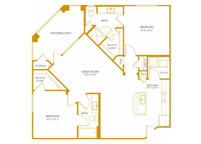 1,132 sq. ft. B4 floor plan